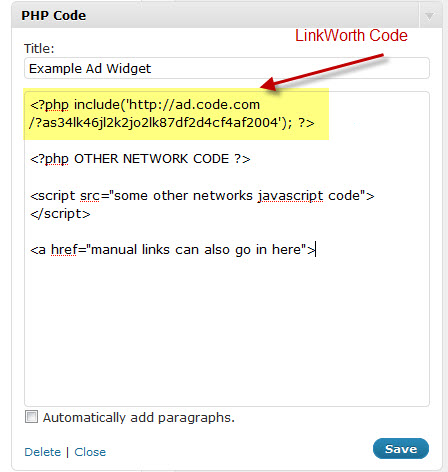 PHP Code Widget Example
